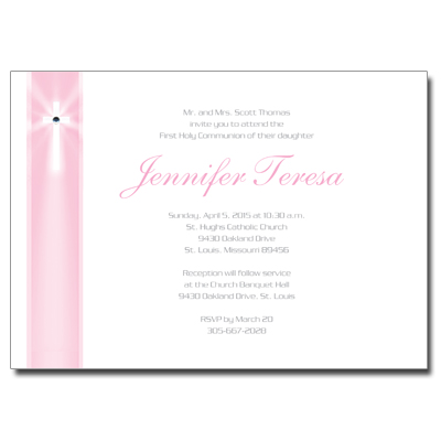 Pink Rays Jeweled First Communion Invitation