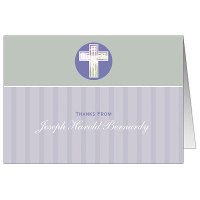 Pastel Squares First Communion Thank You Card