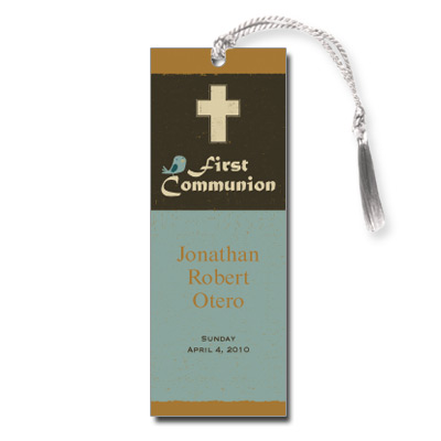 Retro Cross First Communion Bookmark