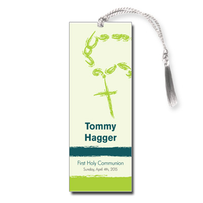 Rosary Beads Green First Communion Bookmark