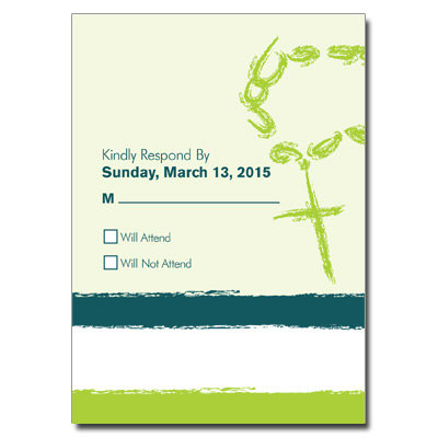 Rosary Beads Green First Communion Response Card