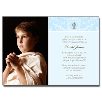 Blue Toile First Communion Invitation