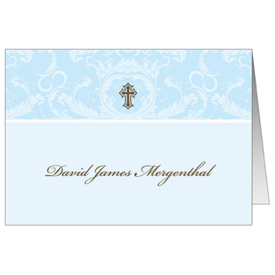 Blue Toile First Communion Thank You Card