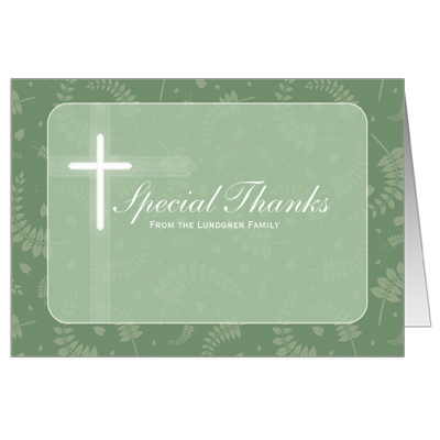 Round Green Frame First Communion Thank You Card
