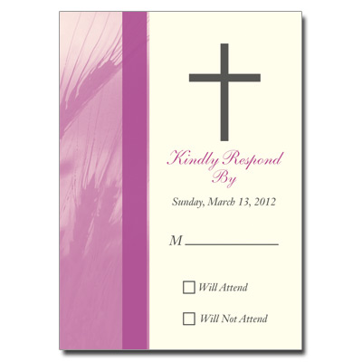 Traditional Wheat Purple First Communion Response Card