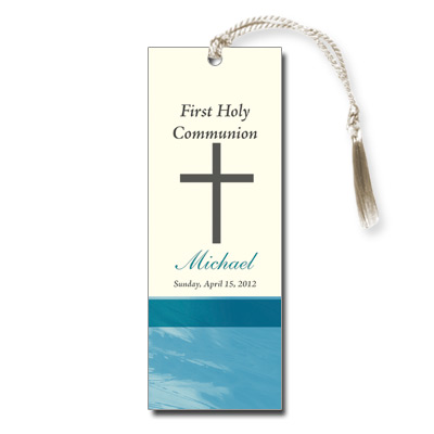 Traditional Wheat Teal First Communion Bookmark