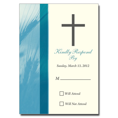 Traditional Wheat Teal First Communion Response Card