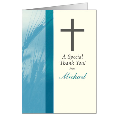 Traditional Wheat First Communion Thank You Card - Teal